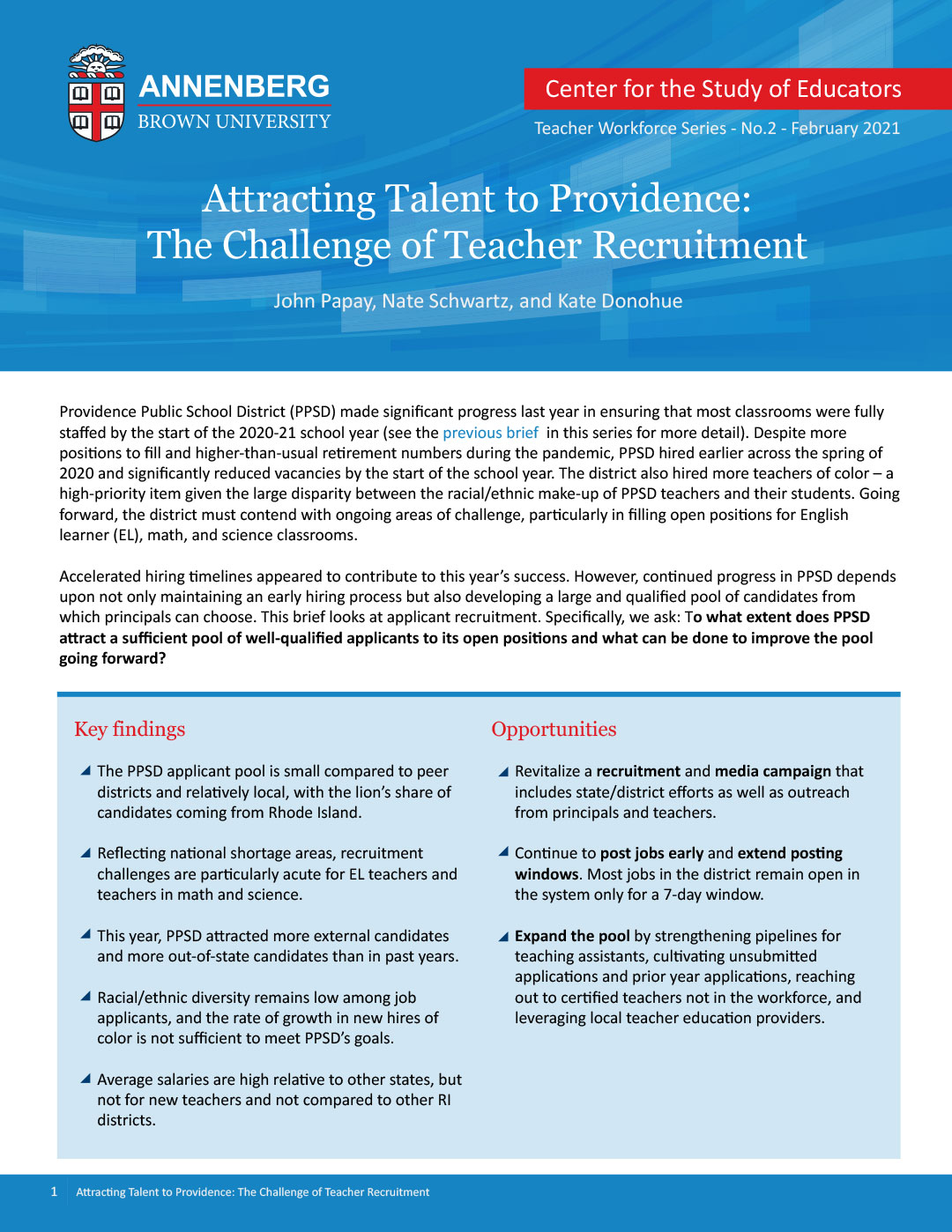 Attracting Talent to Providence: The Challenge of Teacher Recruitment