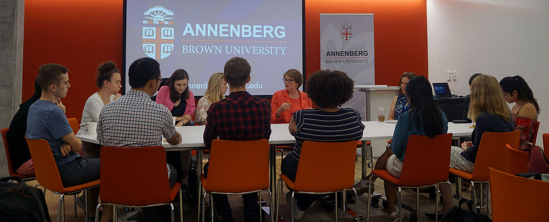 President Christina Paxson speaking to Annenberg Undergraduate Fellows